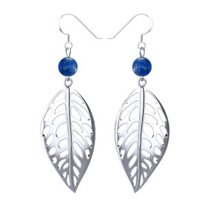 Sterling Silver Free Leaf Drop Earrings with Lapis