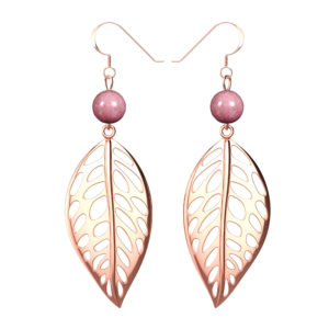 Sterling Silver Rose Gold Free Leaf Drop Earrings