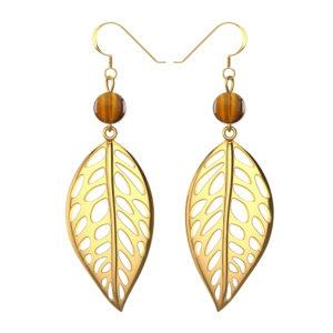 Sterling Silver Yellow Gold Free Leaf Drop Earrings