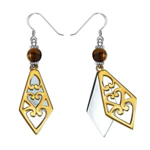 Immense Diamond Shaped Sterling Silver Gold Plated Heart Earrings with Tiger's Eye Stone