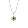 Sterling Silver Spider Web Necklace in Citrine and Smoky Quartz