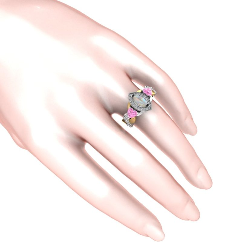 Lovely Sterling Silver Ethiopian Opal Ring with Pink and White Topaz