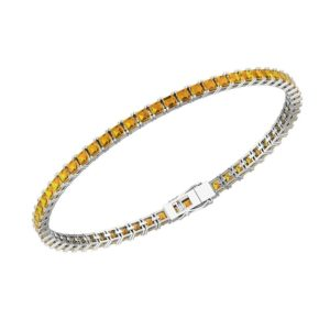 3mm Citrine Tennis bracelet square shaped RSB 0027
