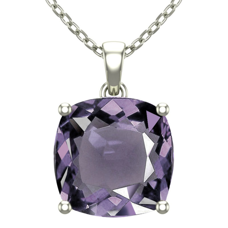 "Sterling Silver 14K White Gold Square Shape 18"" Singapore Necklace in 10mm Amethyst for Mother's Day"