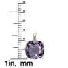 """Sterling Silver 14K White Gold Square Shape 18"""" Singapore Necklace in 10mm Amethyst for Mother's Day"""