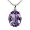 """Sterling Silver 14K White Gold Oval Shape 18"""" Singapore Necklace in 10mm Amethyst for Mother's Day"""