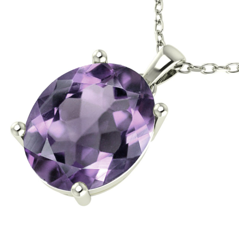"Sterling Silver 14K White Gold Oval Shape 18"" Singapore Necklace in 10mm Amethyst for Mother's Day"