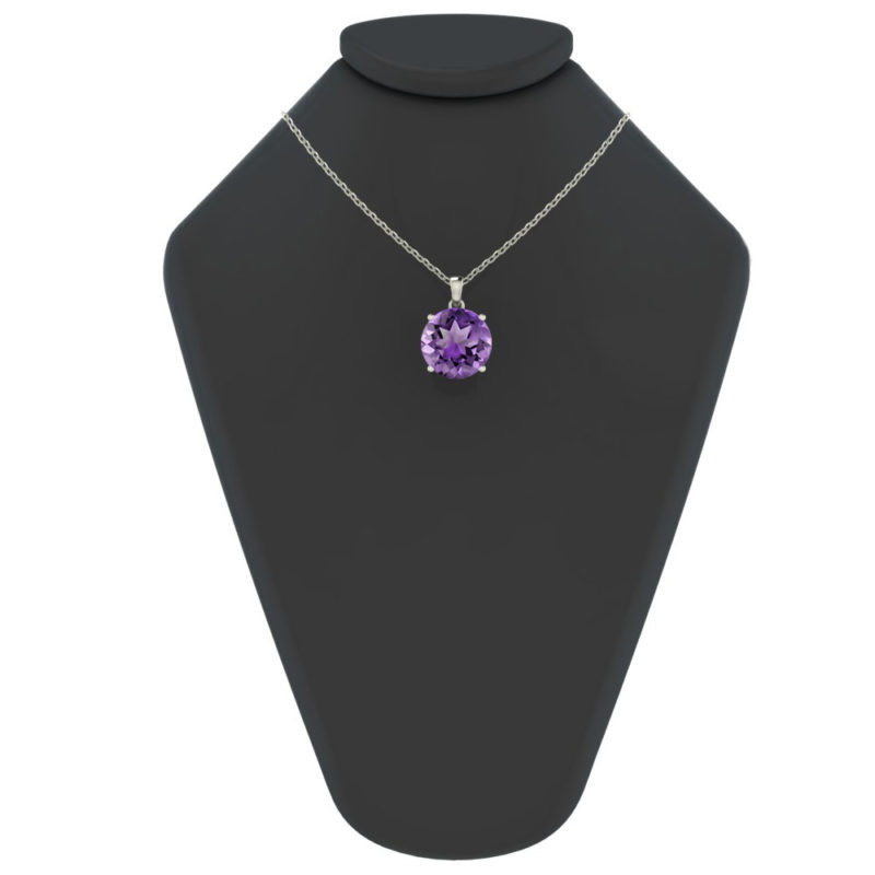 "Sterling Silver 14K White Gold Round Shape 18"" Singapore Necklace in 10mm Amethyst for Mother's Day"