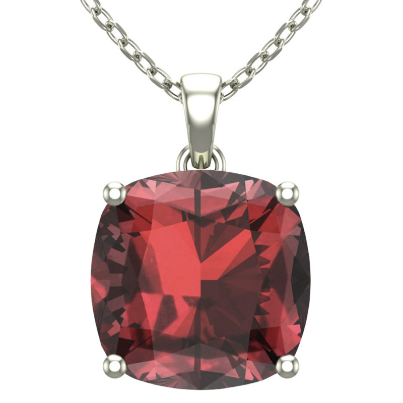 "Sterling Silver 14K White Gold Square Shape 18"" Singapore Necklace in 10mm Garnet for Mother's Day"