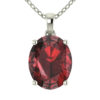 """Sterling Silver 14K White Gold Oval Shape 18"""" Singapore Necklace in 10mm Garnet for Mother's Day"""