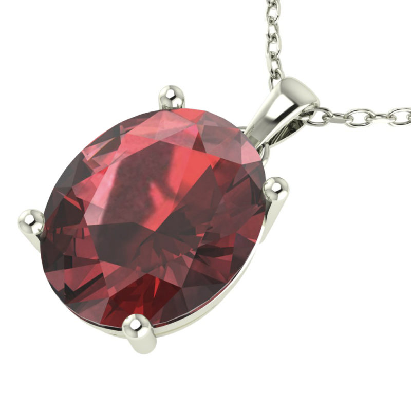 "Sterling Silver 14K White Gold Oval Shape 18"" Singapore Necklace in 10mm Garnet for Mother's Day"