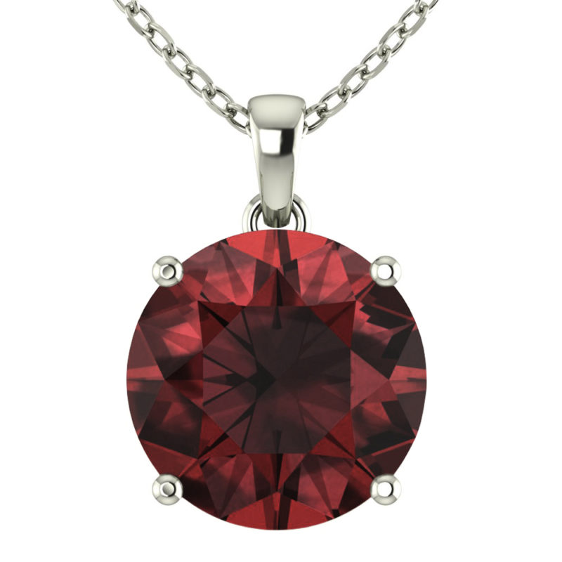 "Sterling Silver 14K White Gold Round Shape 18"" Singapore Necklace in 10mm Ruby for Mother's Day"