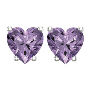 Sterling Silver 2mm 10K White Gold Heart Stud Earring in Amethyst for Mother's Day, Birthday, Anniversary Heart-5mm Amethyst-2 RSE 0125