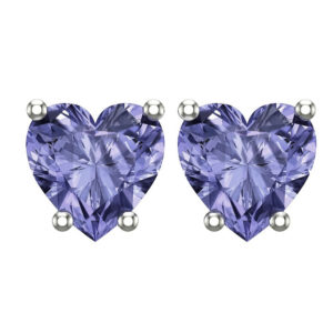 Sterling Silver 2mm 10K White Gold Heart Stud Earring in Tanzanite for Mother's Day, Birthday, Anniversary