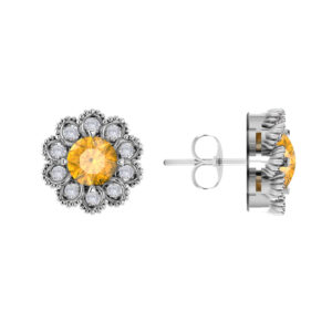 Sterling Silver Citrine Flower Earrings with White Topaz