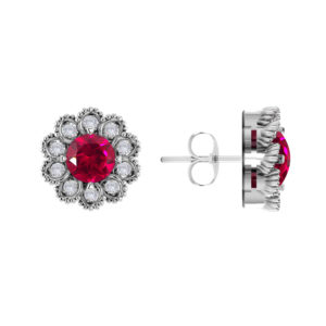 Sterling Silver Created Ruby Flower Earrings with White Topaz