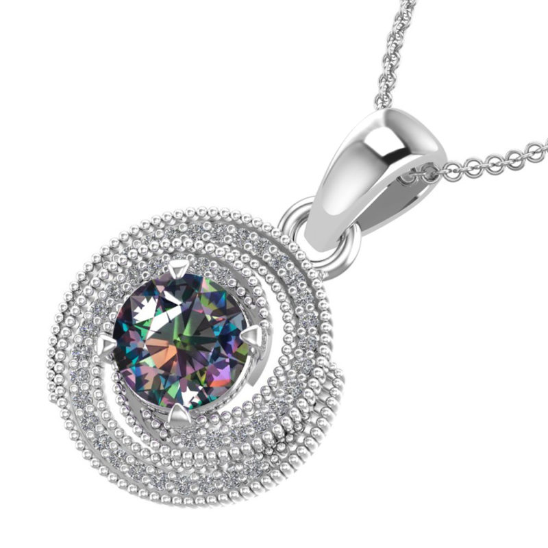 """Sterling Silver Mystic Topaz Whirl Necklace with 18"""" Chain for Holiday/Anniversary"""