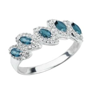 Sterling Silver Ring with 5 Marquise Cut London Blue Topaz Gemstones and White Topaz