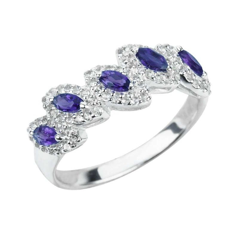 Sterling Silver Ring with 5 Oval Cut Amethyst Gemstones and White Topaz