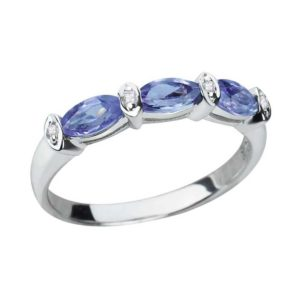 Sterling Silver 2.9mm Marquise Cut Amethyst Ring with Thin Band