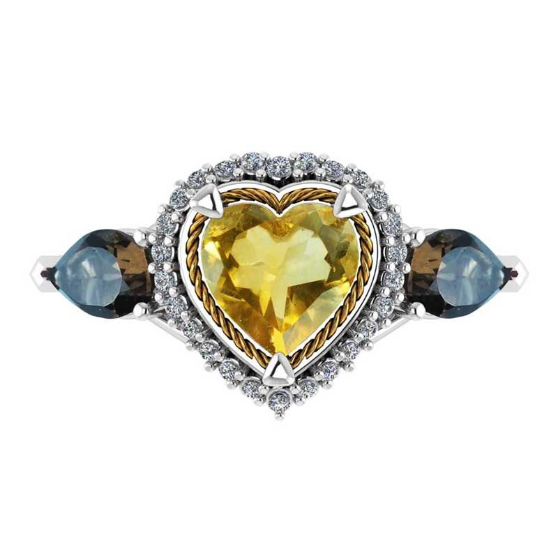 Sterling Silver Heart Shaped Ring in Citrine/Smokey Quartz and White Topaz for Mother's Day