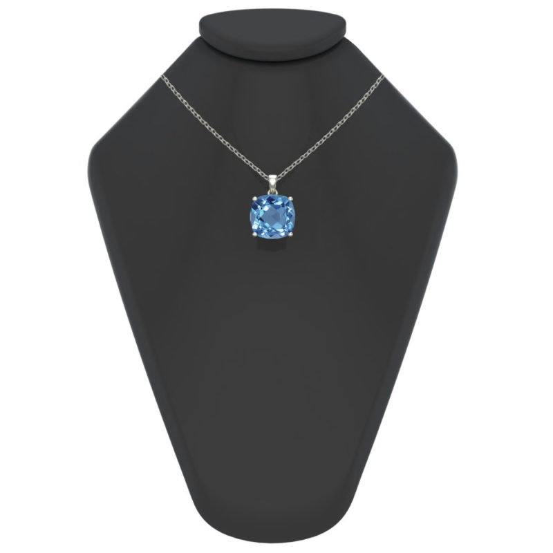 "Sterling Silver 14K White Gold Square Shape 18"" Singapore Necklace in 10mm Swiss Blue Topaz for Mother's Day"