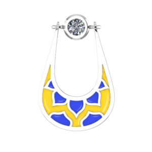Dangling U-Shaped Earrings with Yellow and Blue Enamel for Mother's Day
