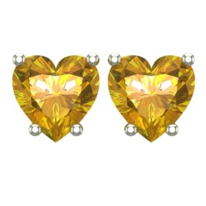 10K White Gold 5mm Heart Stud Earring in Citrine for Mother's Day, Birthday, Anniversary