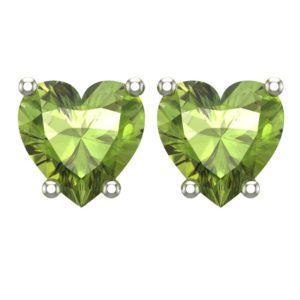 10K White Gold 5mm Heart Stud Earring in Peridot for Mother's Day, Birthday, Anniversary