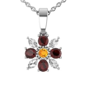 Sterling Silver 18 in Singapore Flower Necklace in Garnet and White Topaz for Mother's Day and Anniversary