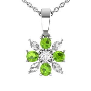 Sterling Silver 18 in Singapore Flower Necklace in Peridot and White Topaz for Mother's Day and Anniversary