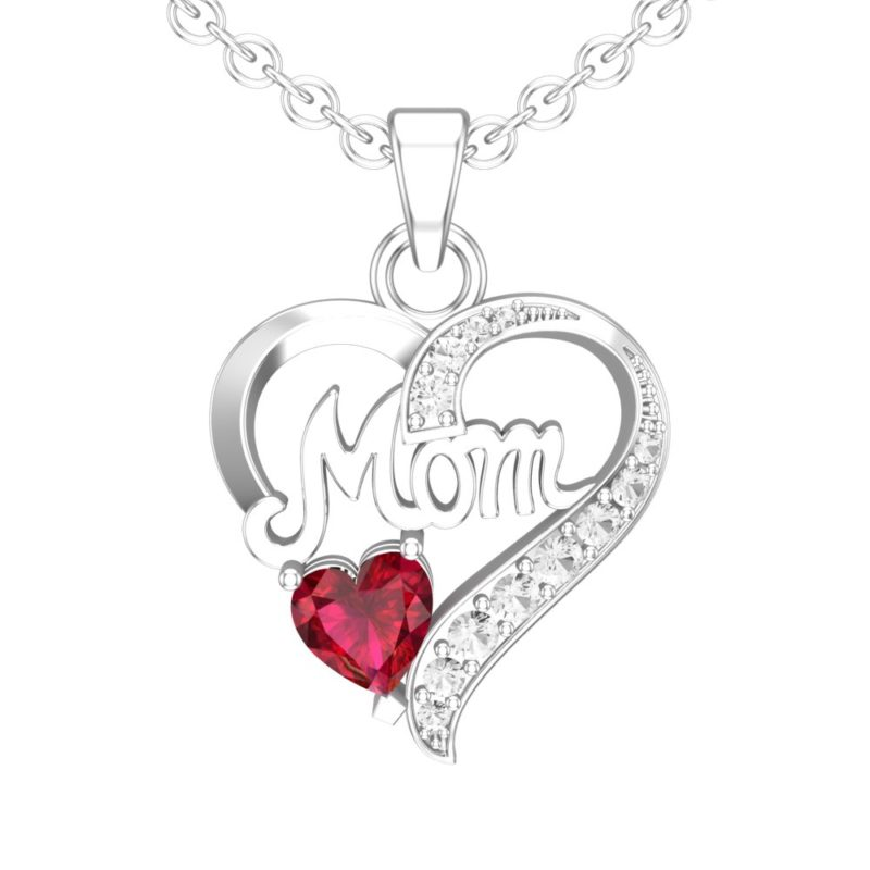 Sterling Silver Created White Sapphire and Created Ruby Mom Necklace and 18 inch Singapore Chain for Mother's Day