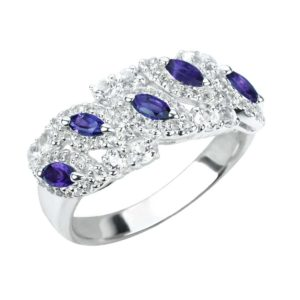 Sterling Silver Ring with 5 Marquise Cut Amethyst Gemstones and White Topaz (Thick Band)