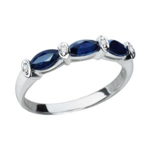 Sterling Silver 2.9mm Marquise Cut Created Blue Sapphire Ring with Sleek Band