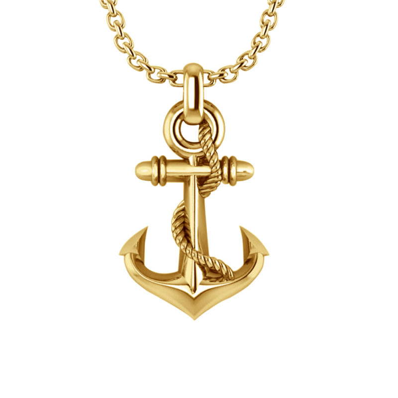 Sterling Silver Gold Plated Three-dimensional Stylish Anchor Necklace