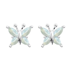 Beautiful Sterling Silver Rainbow Moonstone Butterfly Stud Earrings