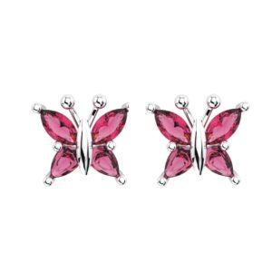 Beautiful Sterling Silver Pink Tourmaline Butterfly Stud Earrings