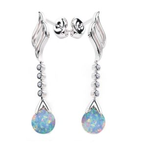 Solid Sterling Silver 5mm Opal Ball Created Dangling Earring