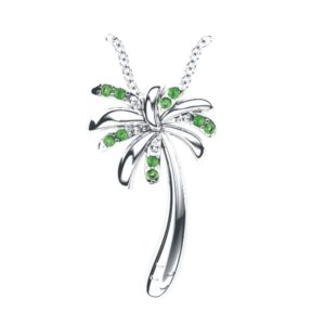 Solid Sterling Silver Tropical Palm Tree Necklace in Green Garnet