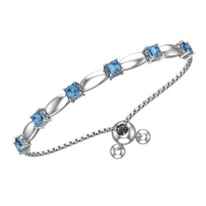 Solid Sterling Silver 4mm Swiss Blue Topaz Bracelet with Silicon Bead Clasp