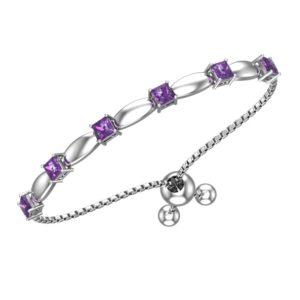 Solid Sterling Silver 4mm Amethyst Bracelet with Silicon Bead Clasp