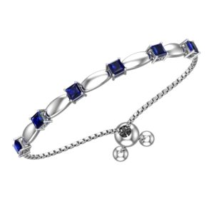 Solid Sterling Silver 4mm Created Blue Sapphire Bracelet with Silicone Bead Clasp