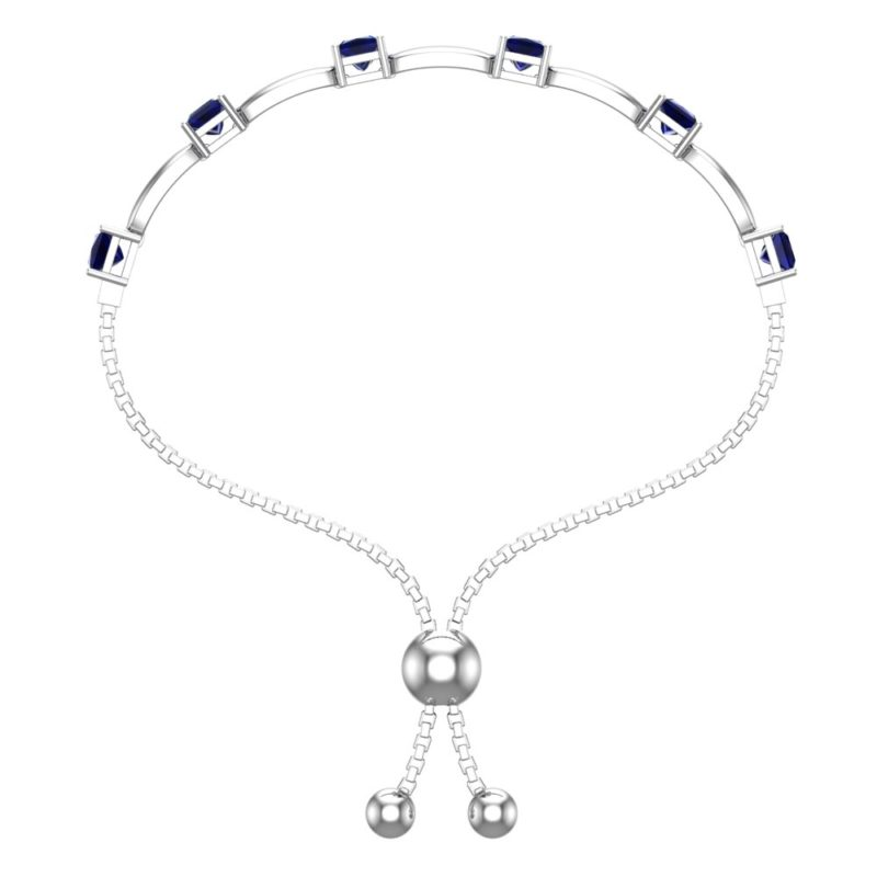 Solid Sterling Silver 4mm Created Blue Sapphire Bracelet with Silicon Bead Clasp