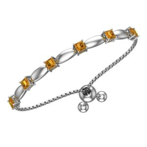 Solid Sterling Silver 4mm Citrine Bracelet with Silicon Bead Clasp