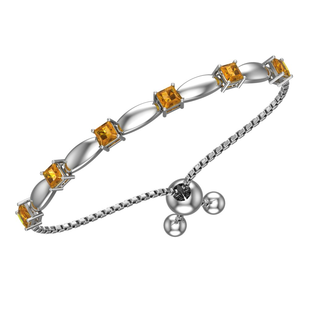 c27448ff21b3dd Solid Sterling Silver 4mm Citrine Bracelet with Silicon Bead Clasp