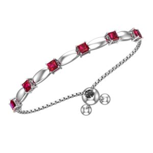 Solid Sterling Silver 4mm Created Ruby Bracelet with Silicon Bead Clasp