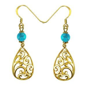 Elegant Yellow Sterling Silver Plated Gold Earings