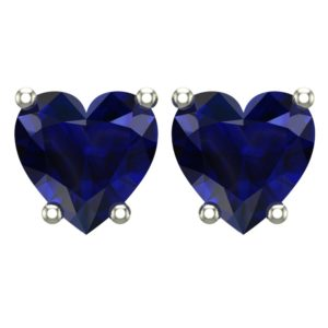 10K White Gold 5mm Heart Stud Earring in Created Blue Sapphire CZ Perfect for Loved Ones