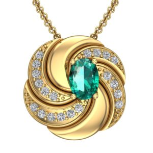 Sterling Silver Gold Plated Twist Pendant Necklace with Oval cut Emerald Gemstone