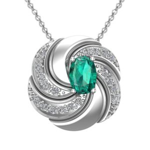 Sterling Silver Twist Pendant Necklace with Oval Cut Emerald Gemstone with White Topaz
